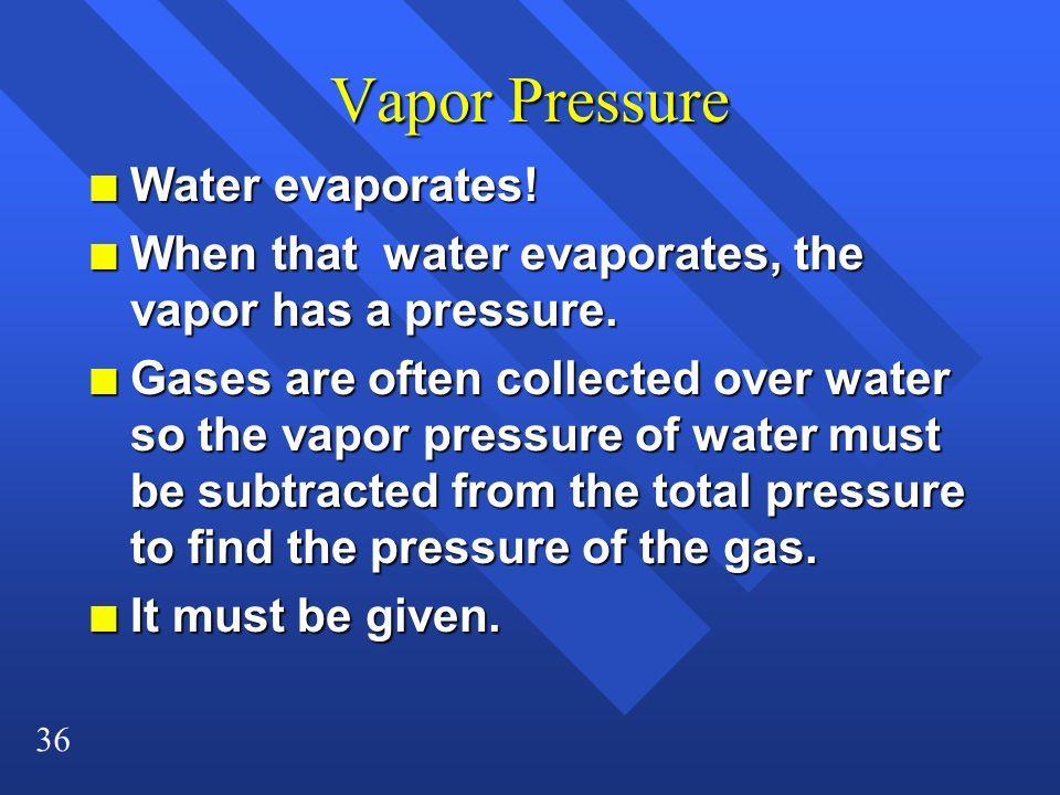 Vapor Pressure Water evaporates!