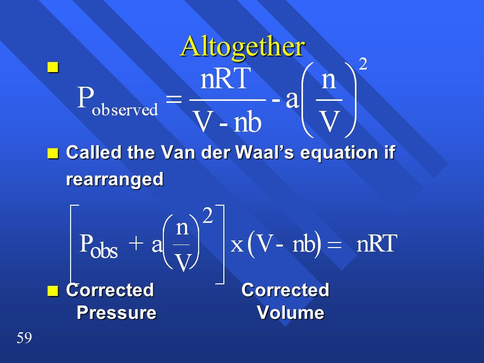 Altogether Called the Van der Waal's equation if rearranged