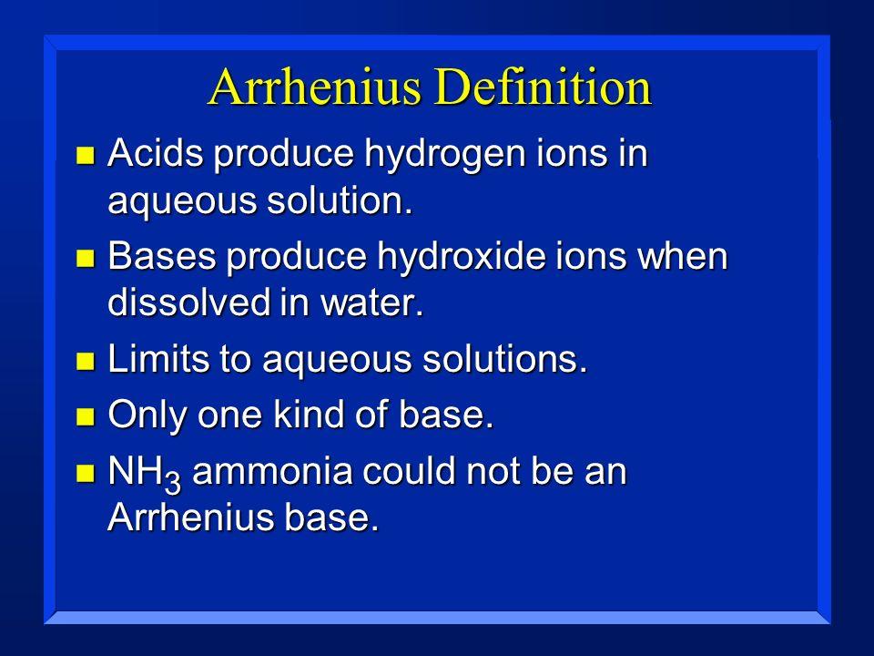 Arrhenius Definition Acids produce hydrogen ions in aqueous solution.