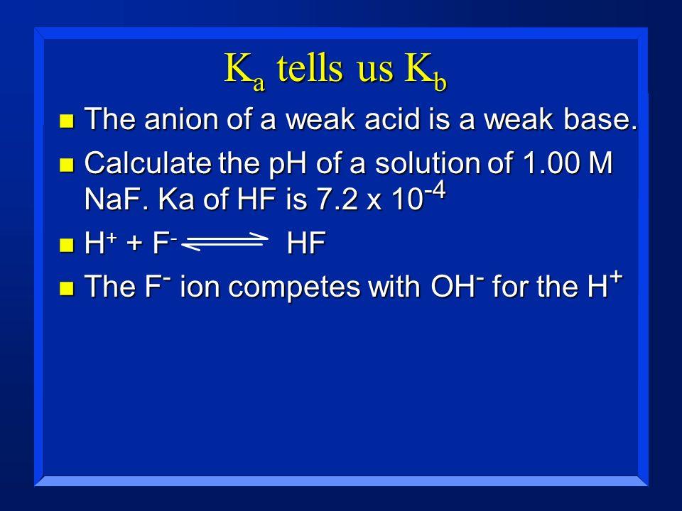 Ka tells us Kb The anion of a weak acid is a weak base.