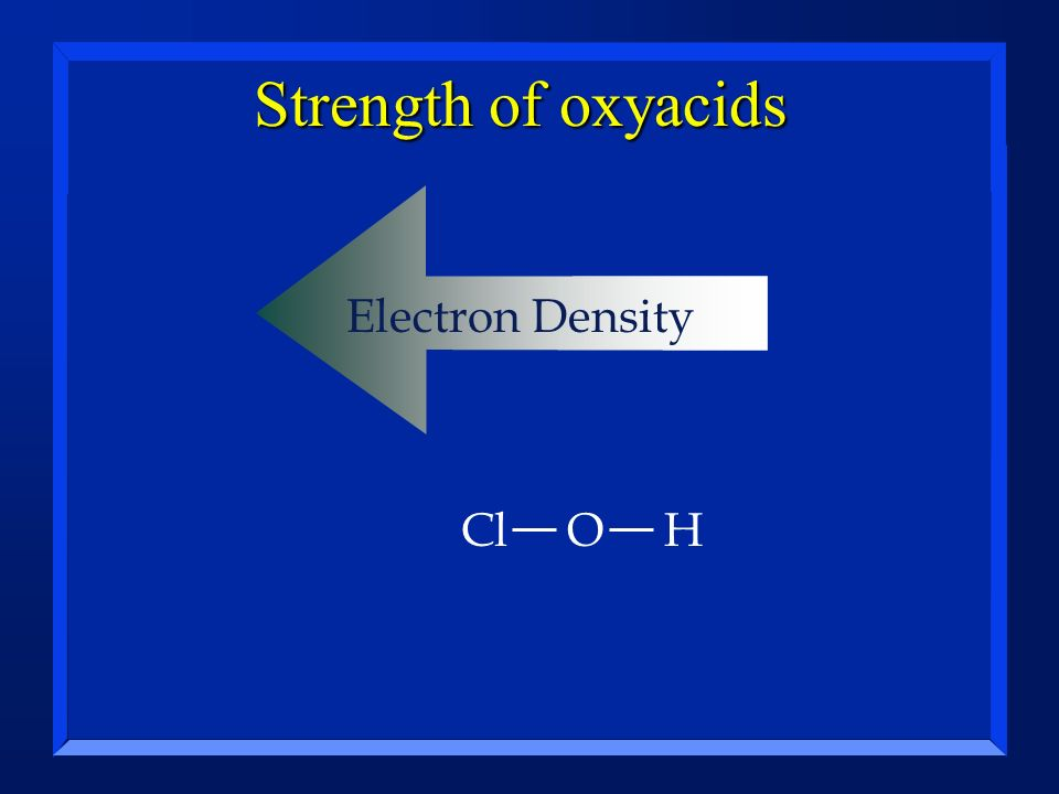 Strength of oxyacids Electron Density Cl O H