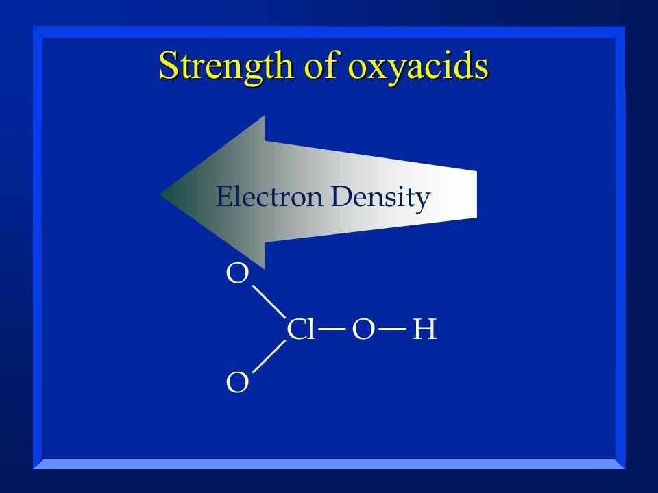 Strength of oxyacids Electron Density O Cl O H O