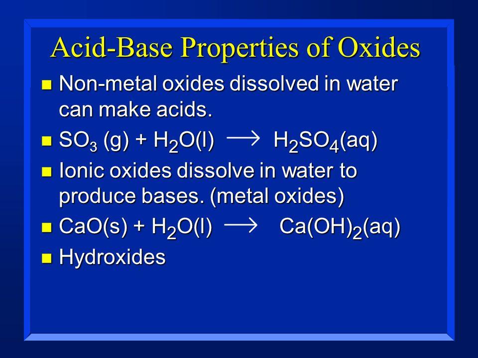 Acid-Base Properties of Oxides