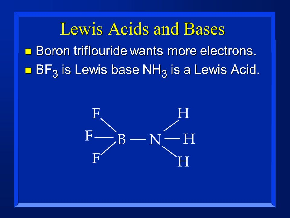Lewis Acids and Bases F H F B N H F H