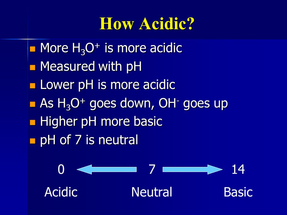 How Acidic More H3O+ is more acidic Measured with pH