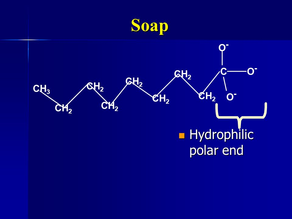 Soap C O- CH3 CH2 Hydrophilic polar end