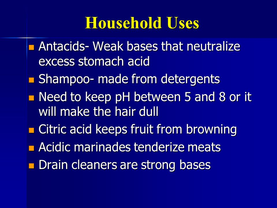 Household Uses Antacids- Weak bases that neutralize excess stomach acid. Shampoo- made from detergents.