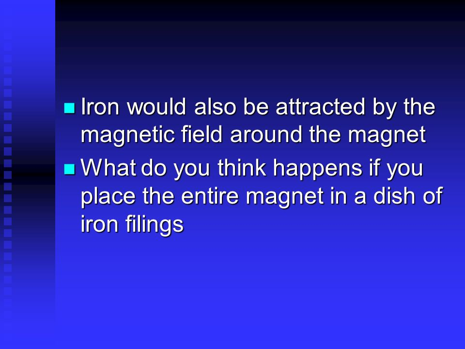 Iron would also be attracted by the magnetic field around the magnet