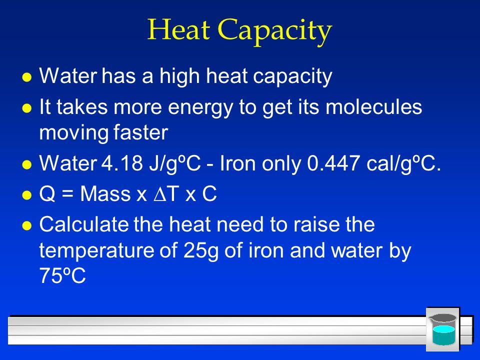 Heat Capacity Water has a high heat capacity