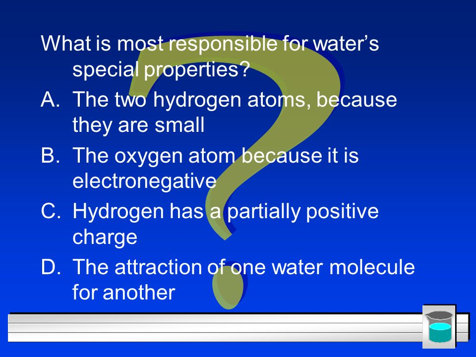 What is most responsible for water's special properties