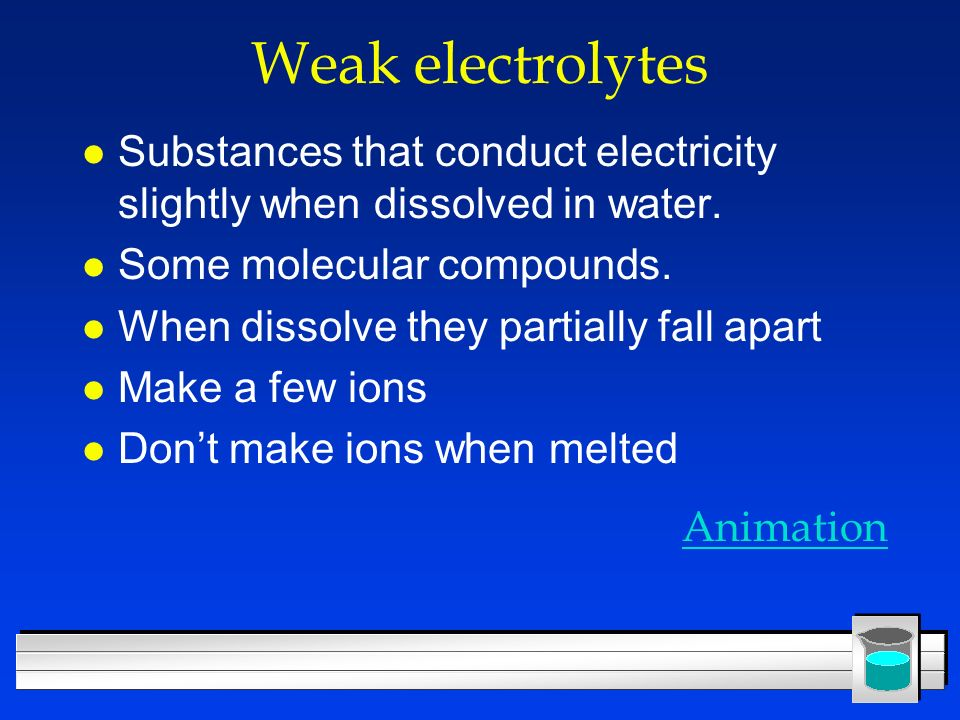 Weak electrolytes Substances that conduct electricity slightly when dissolved in water. Some molecular compounds.