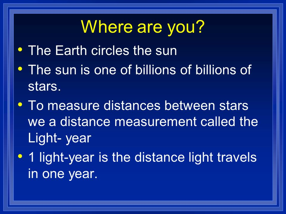 Where are you The Earth circles the sun