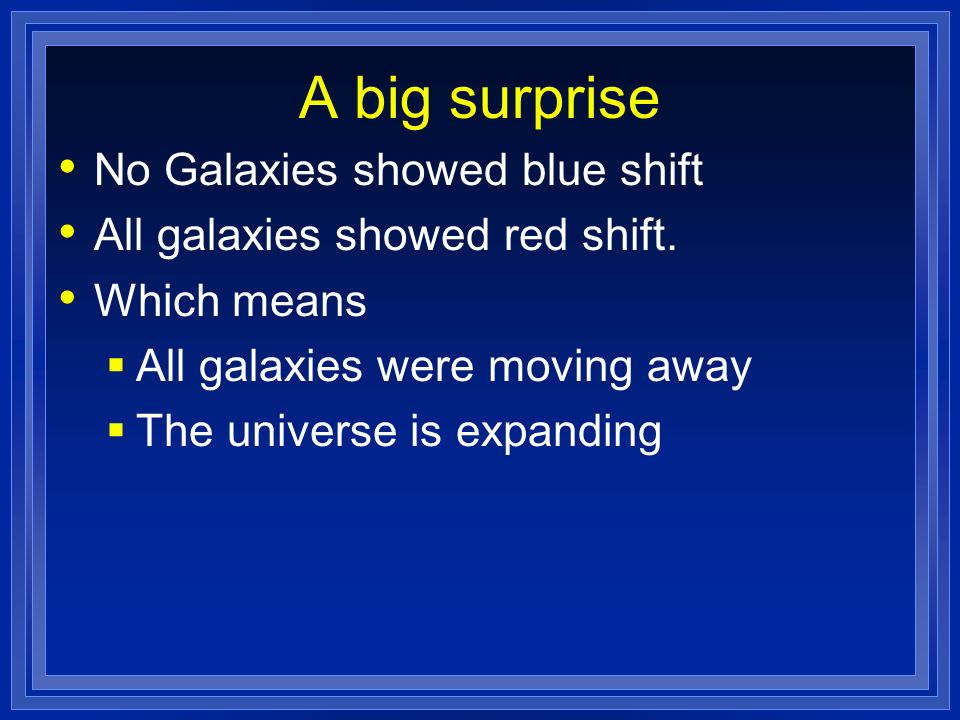 A big surprise No Galaxies showed blue shift