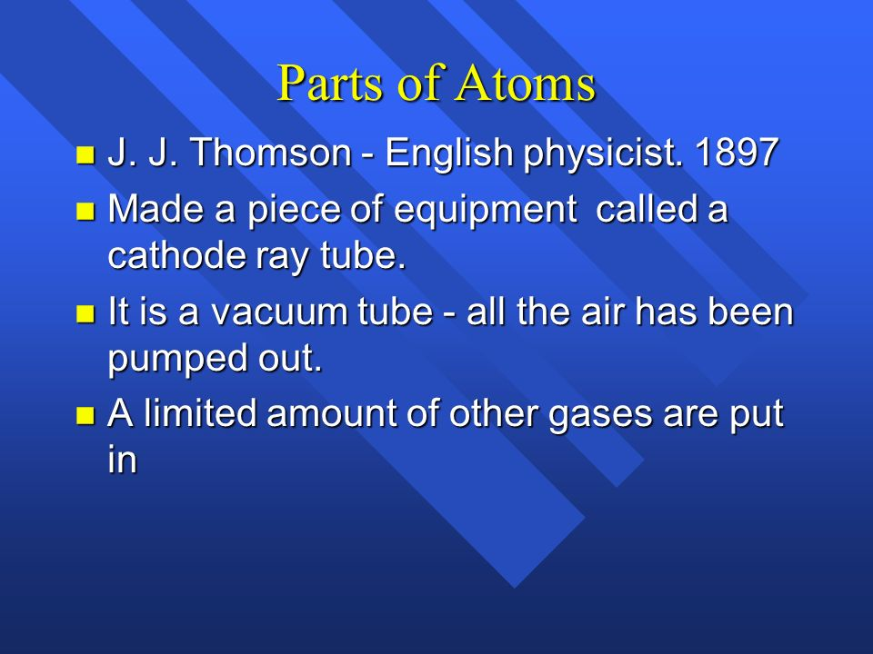 Parts of Atoms J. J. Thomson - English physicist. 1897