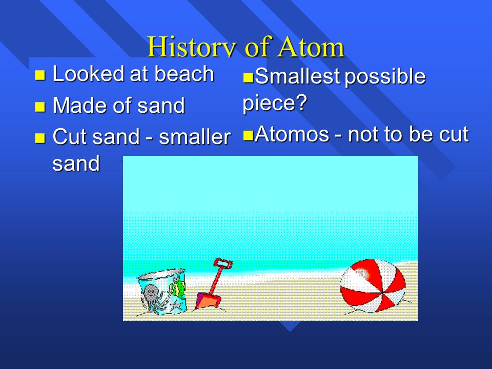 History of Atom Looked at beach Made of sand Cut sand - smaller sand