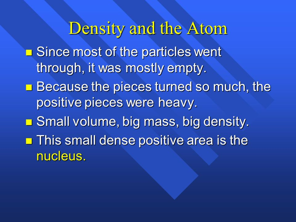 Density and the Atom Since most of the particles went through, it was mostly empty.