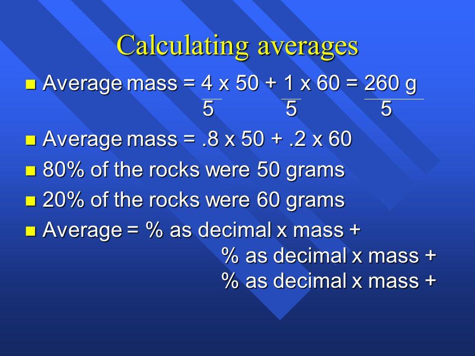 Calculating averages Average mass = 4 x 50 + 1 x 60 = 260 g 5 5 5
