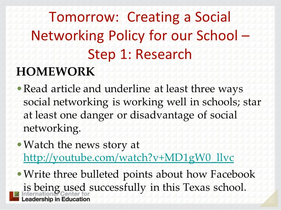 Tomorrow: Creating a Social Networking Policy for our School – Step 1: Research