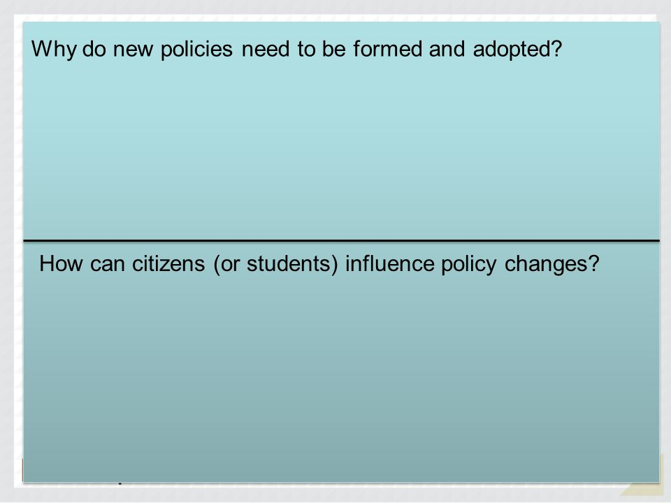 Why do new policies need to be formed and adopted