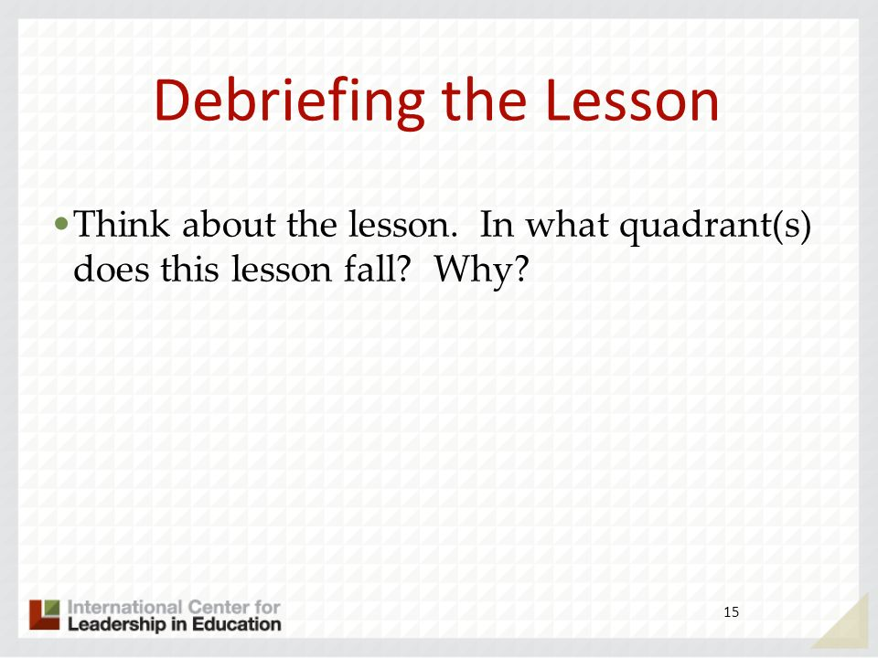 Debriefing the Lesson Think about the lesson. In what quadrant(s) does this lesson fall Why