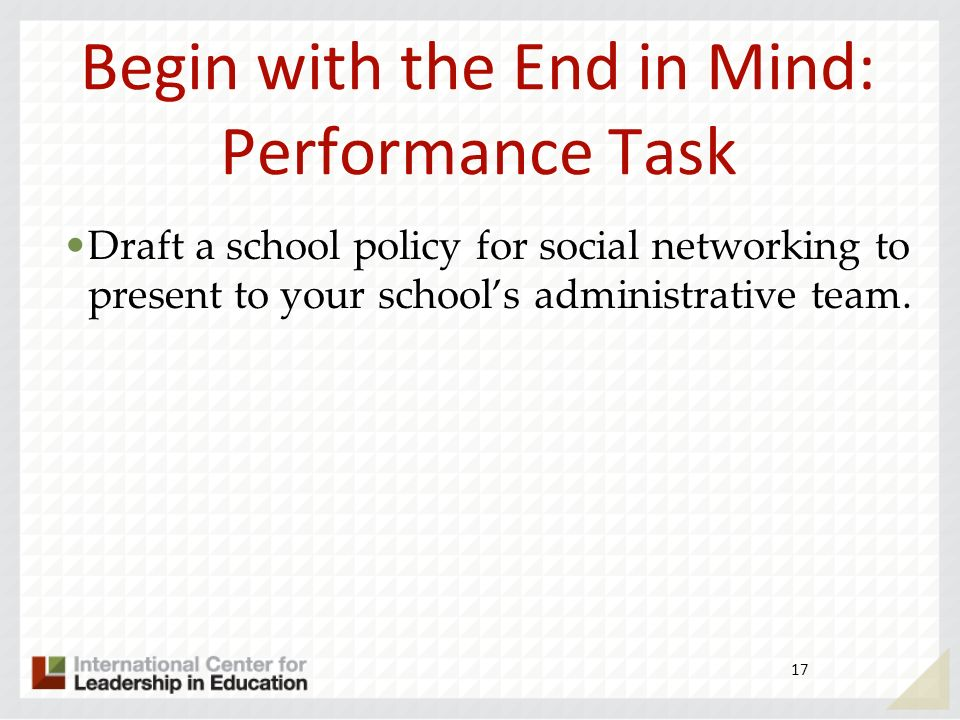 Begin with the End in Mind: Performance Task