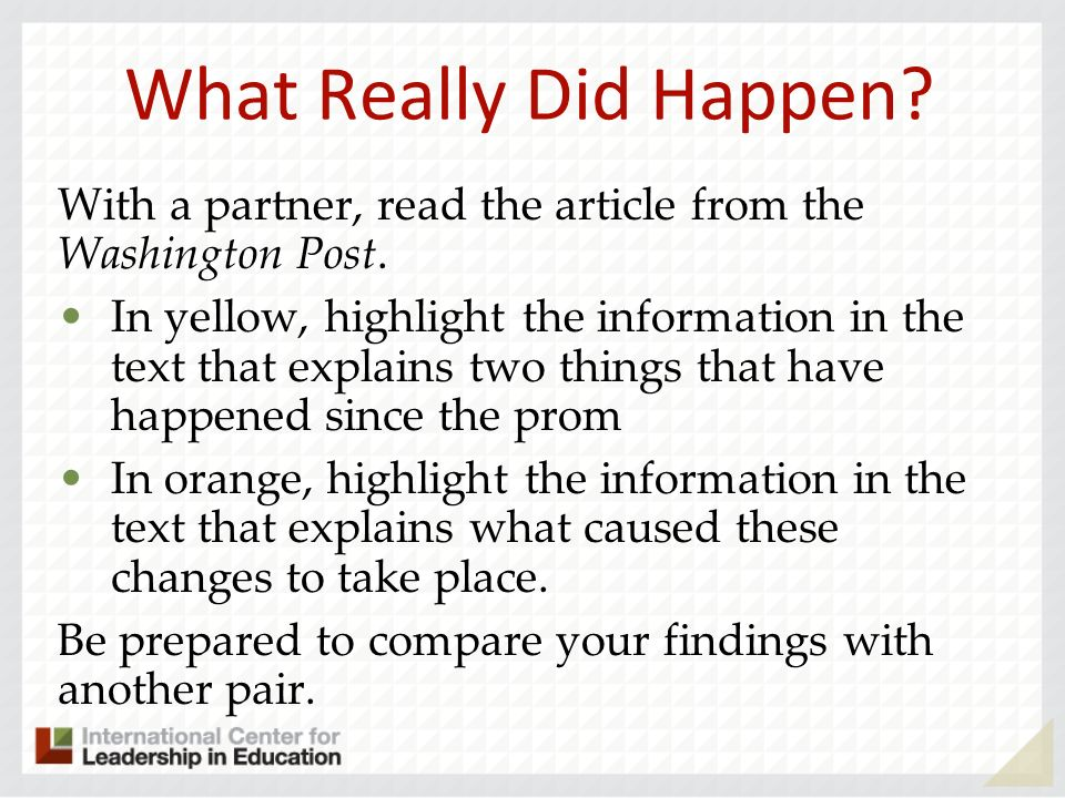 What Really Did Happen With a partner, read the article from the Washington Post.