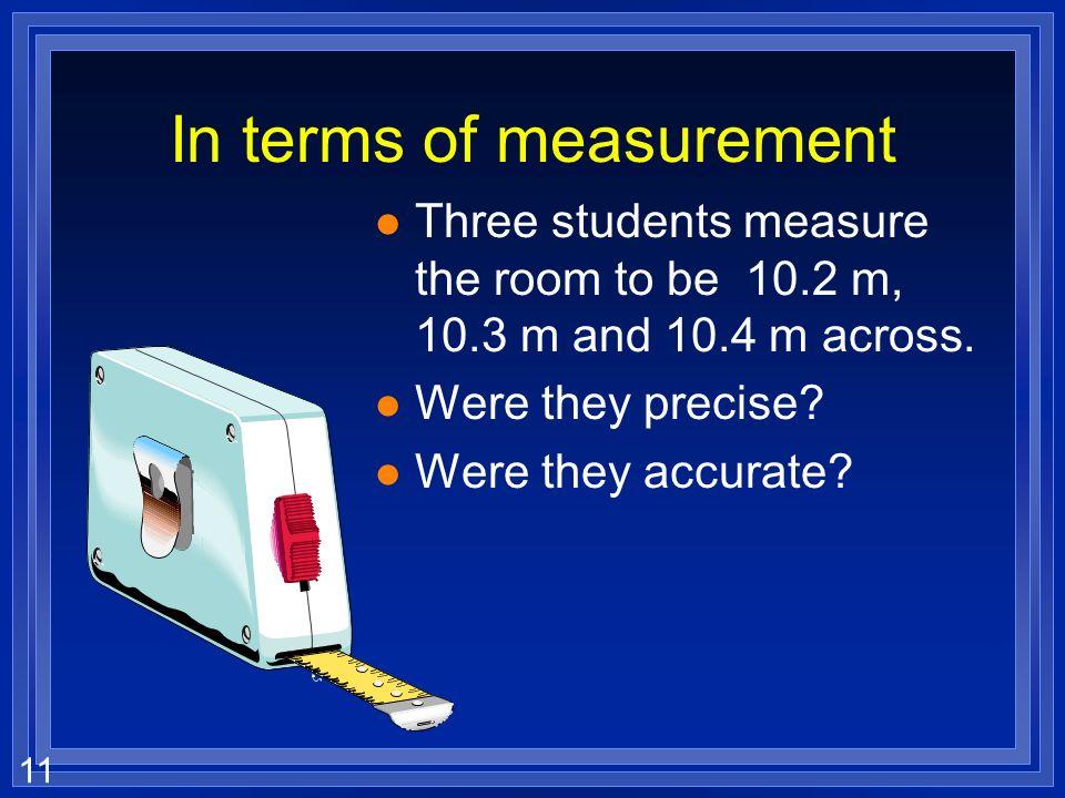 In terms of measurement