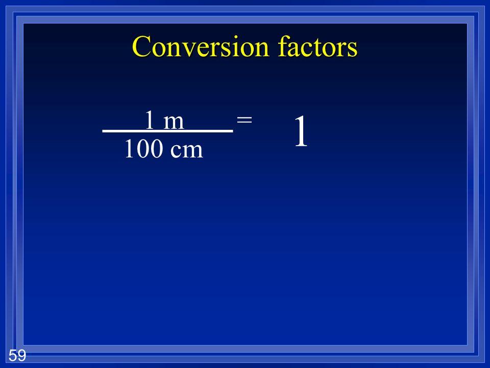 Conversion factors 1 m = 1 100 cm