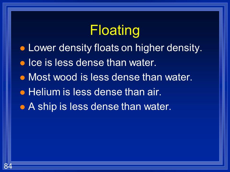Floating Lower density floats on higher density.