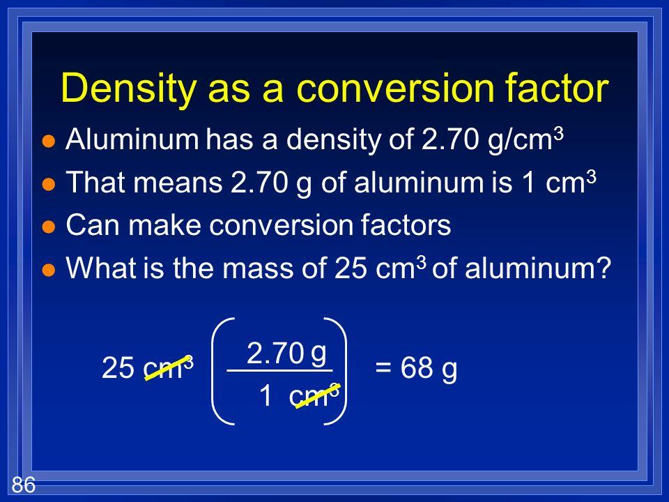 Density as a conversion factor