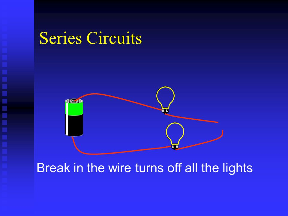 Series Circuits Break in the wire turns off all the lights