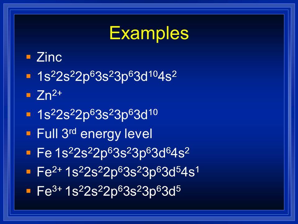 Examples Zinc 1s22s22p63s23p63d104s2 Zn2+ 1s22s22p63s23p63d10