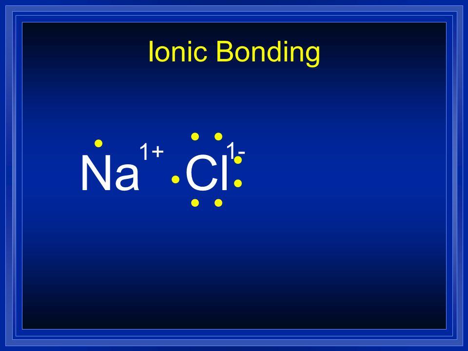 Ionic Bonding 1+ 1- Na Cl