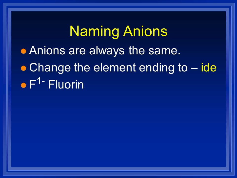 Naming Anions Anions are always the same.