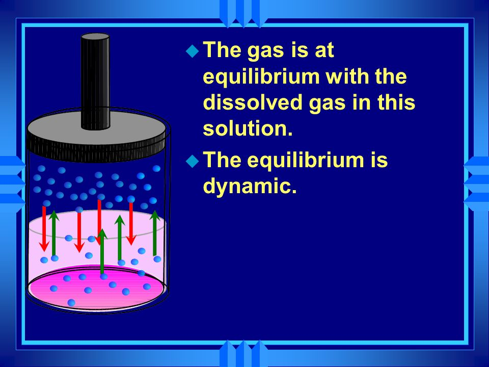 The gas is at equilibrium with the dissolved gas in this solution.