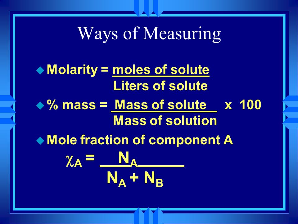 Ways of Measuring Molarity = moles of solute Liters of solute