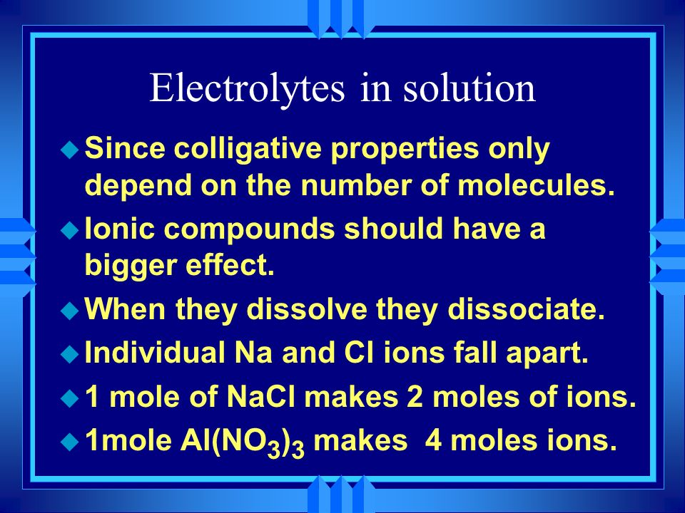 Electrolytes in solution