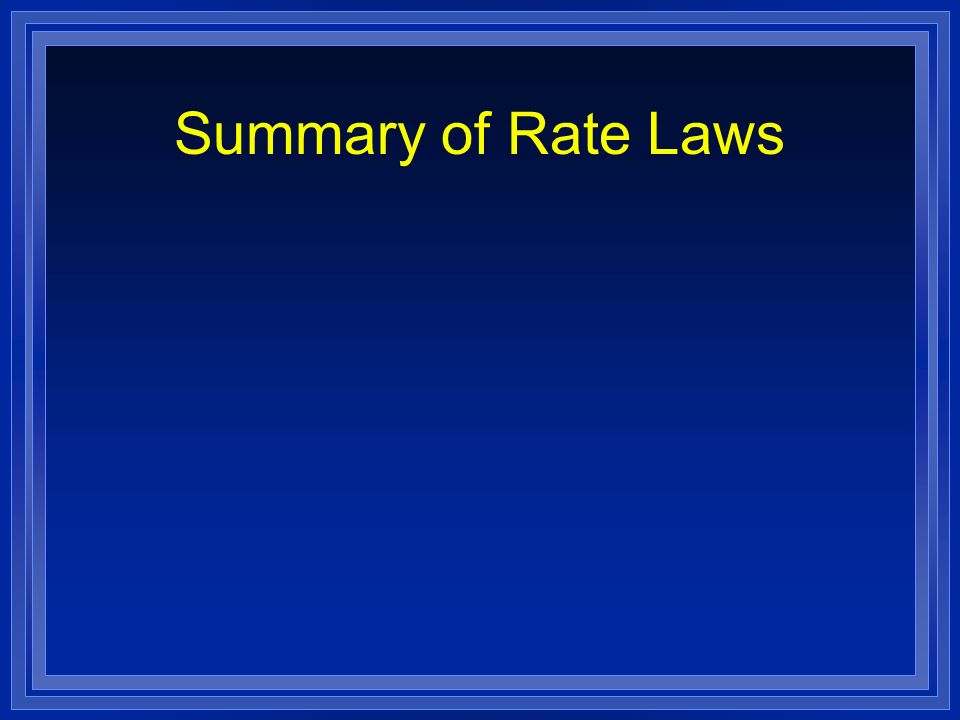 Summary of Rate Laws