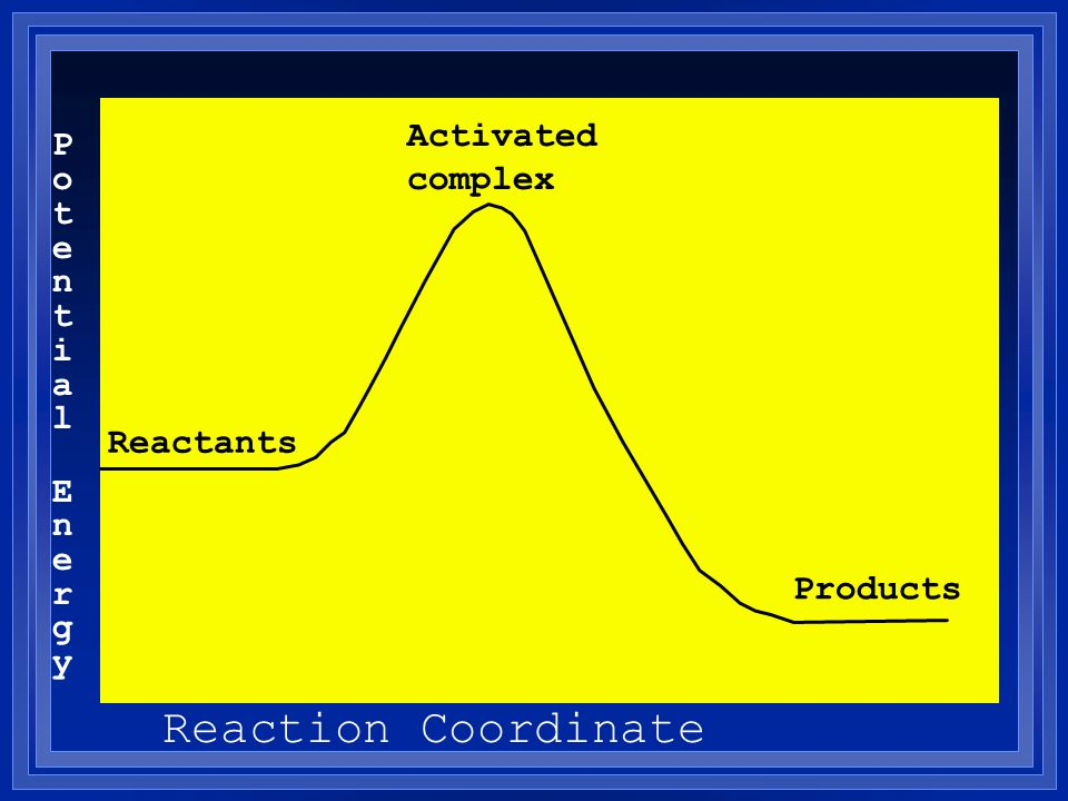 Reaction Coordinate Activated complex Potential Energy Reactants