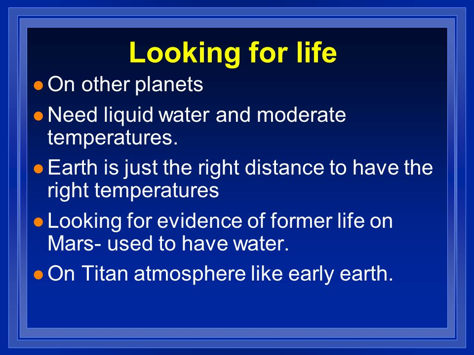 Looking for life On other planets
