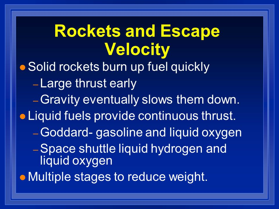 Rockets and Escape Velocity