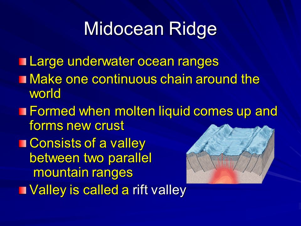 Midocean Ridge Large underwater ocean ranges