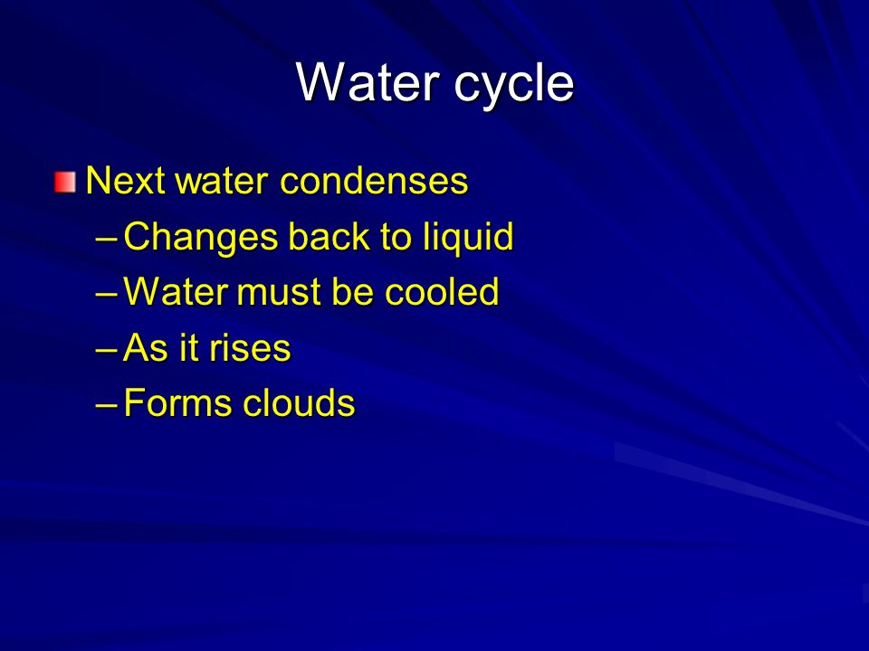 Water cycle Next water condenses Changes back to liquid