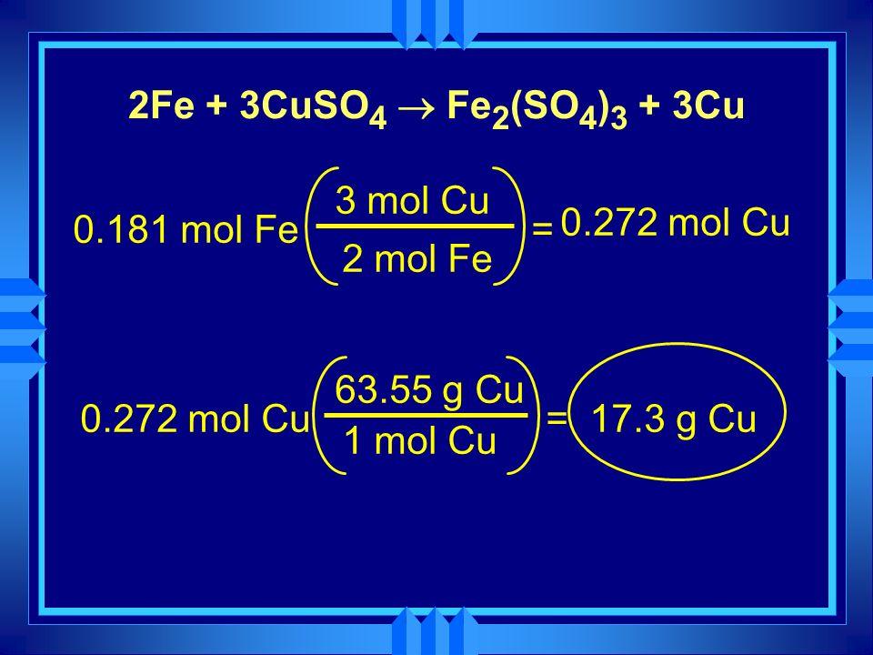 2Fe + 3CuSO4 ® Fe2(SO4)3 + 3Cu 3 mol Cu. 0.272 mol Cu. 0.181 mol Fe. = 2 mol Fe. 63.55 g Cu. 0.272 mol Cu.