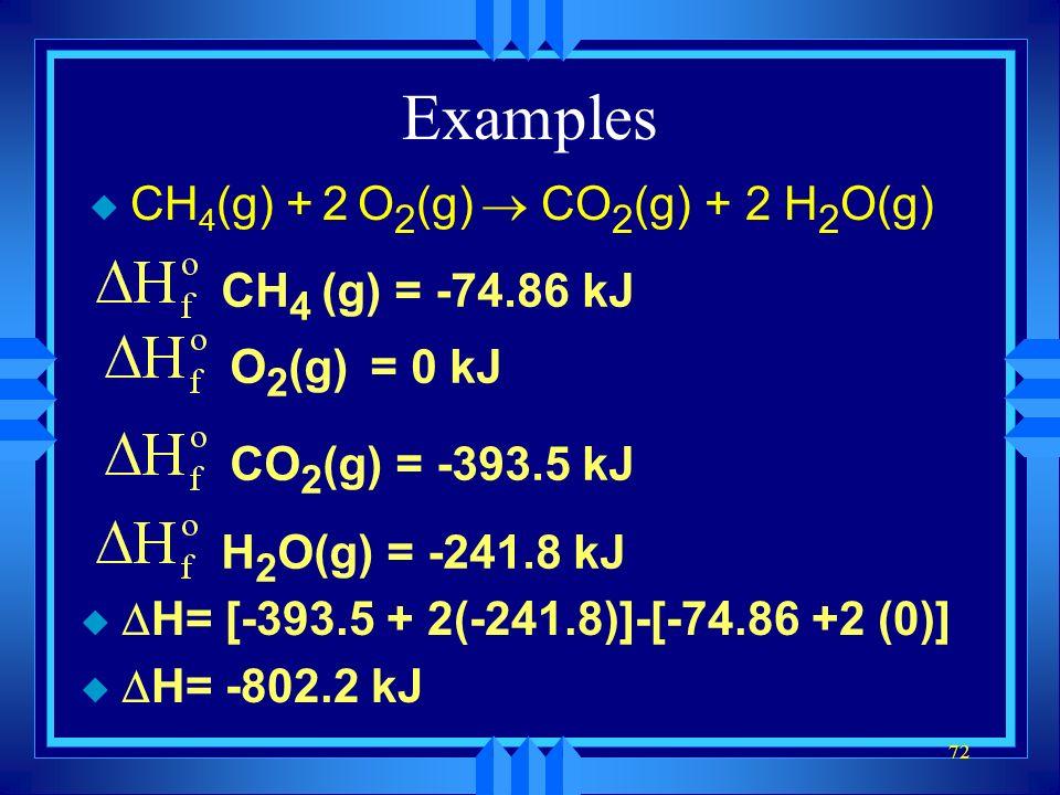 Examples CH4(g) + 2 O2(g) ® CO2(g) + 2 H2O(g) CH4 (g) = -74.86 kJ