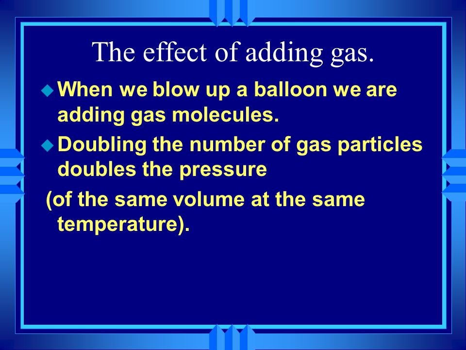 The effect of adding gas.