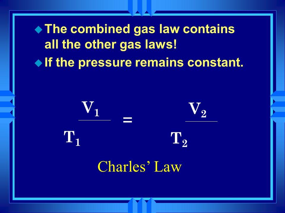 P1 x V1 P2 x V2 = T1 T2 Charles' Law