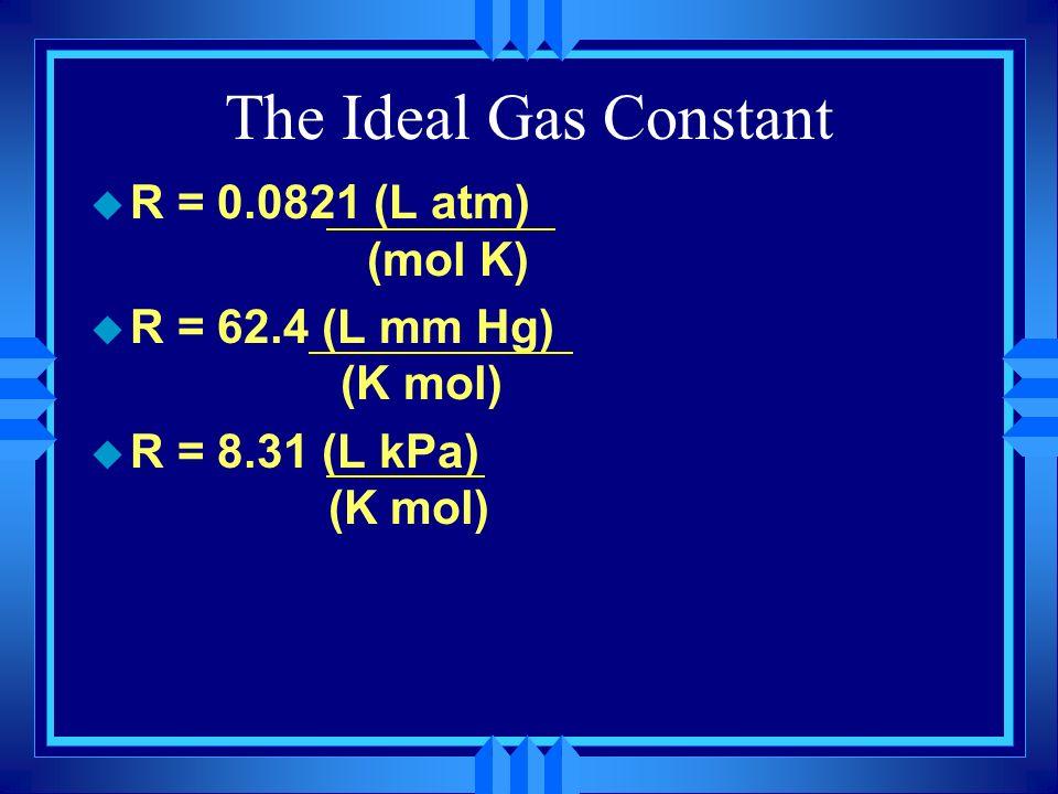 The Ideal Gas Constant R = 0.0821 (L atm) (mol K)