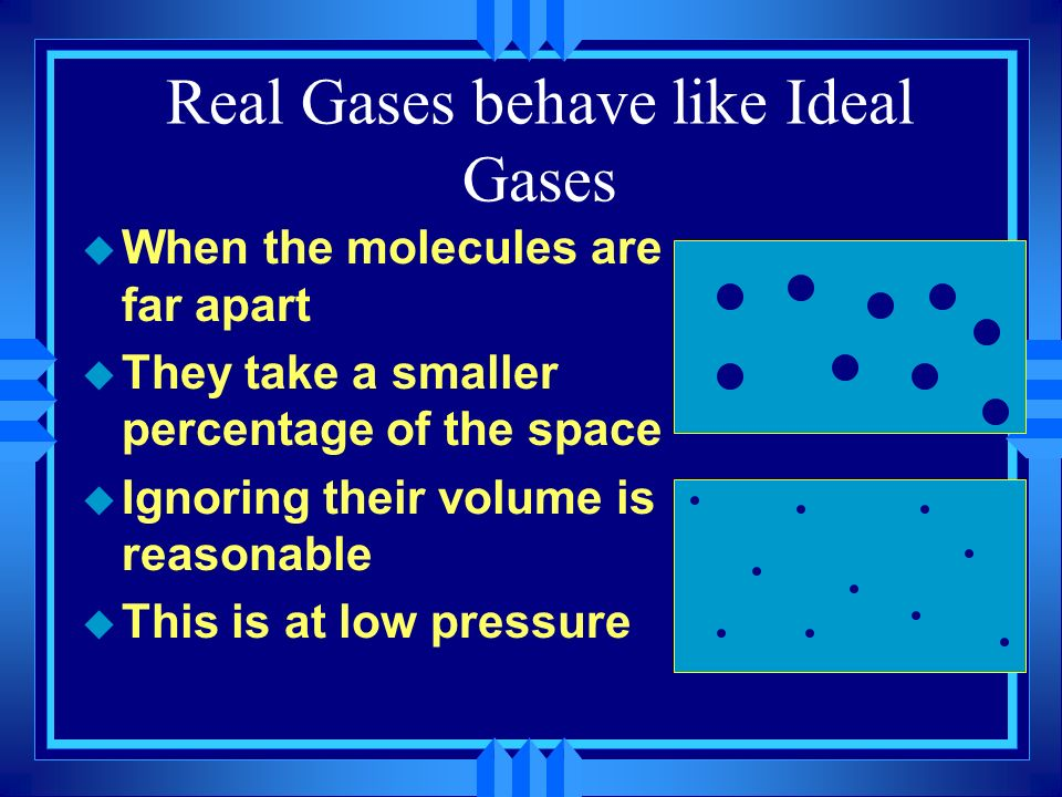 Real Gases behave like Ideal Gases