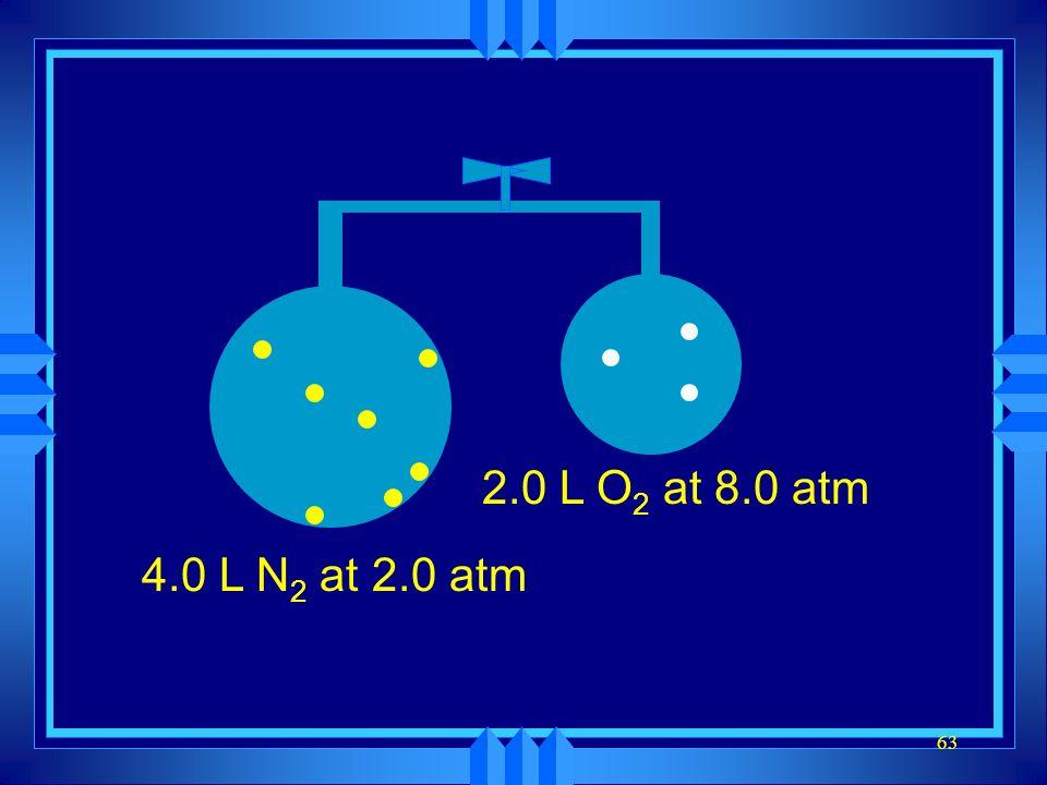 2.0 L O2 at 8.0 atm 4.0 L N2 at 2.0 atm